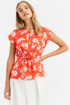 Oasis Red Foulard Tie Top