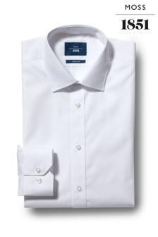 Moss 1851 Slim Fit White Single Cuff Shirt