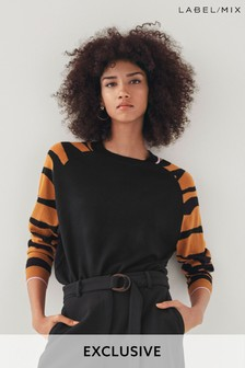Next/Mix Zebra Sleeve Jumper