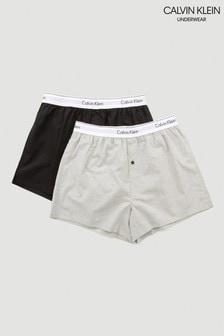 Czarne wąskie bokserki dwie pary Calvin Klein