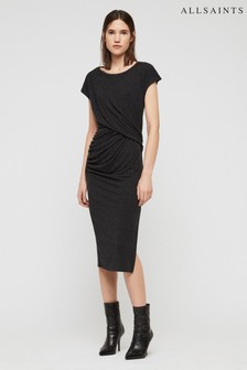 AllSaints Grey Kage Draped Dress