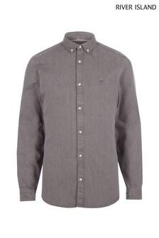 River Island Grey Long Sleeve Denim Shirt