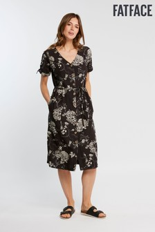 FatFace Black Tara Oriental Button Dress