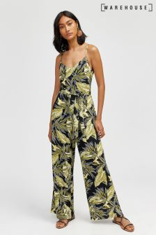 Warehouse Green Palm Springs Jumpsuit