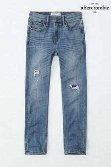 Ciemnoniebieskie dopasowane dżinsy Abercrombie & Fitch
