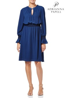Adrianna Papell Blue Pebble Chiffon Boho Dress