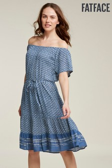 FatFace Blue Rosie Geo Tile Dress