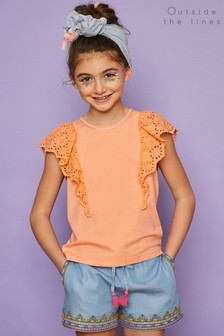 Outside The Lines Orange Broidery Frill Tee