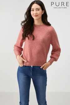 Pure Collection Pink Lofty Cashmere Ribbed Boat Neck Sweater