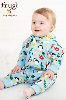 Frugi Organic Blue Warm Puffin Print All-In-One