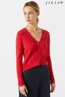 Jigsaw Red Cotton Cash V-Neck Cardigan
