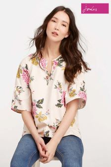 Joules Cream Floral Leya V-Neck Woven Top