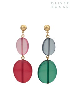 Oliver Bonas Pink Lolli Mismatched  Double Drop Earrings