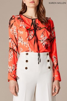 71f761bf39 Karen Millen Orange Trailing Oriental Print Collection Blouse