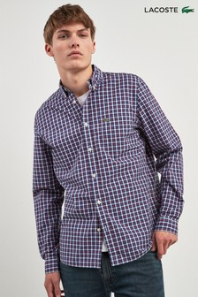 Lacoste® Small Red Check Long Sleeve Shirt
