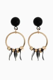 Silver Tone Black Mini Disc Drop Earrings