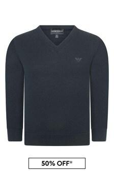 Boys Navy V-Neck Sweater