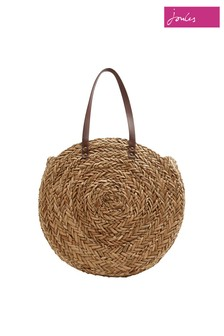 Joules Natural Modena Round Straw Summer Bag