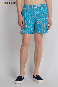 Farah Ibiza Sky Blue Colbert Abstract Tribal Swim Short