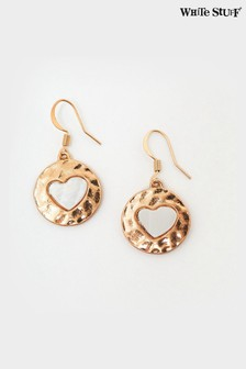 White Stuff Disc Heart Drop Earrings