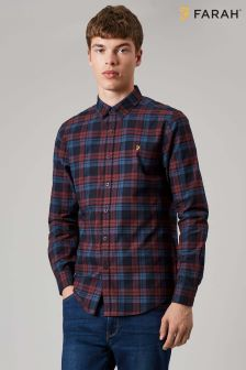 Farah Red Radley Slim Long Sleeve Check Shirt