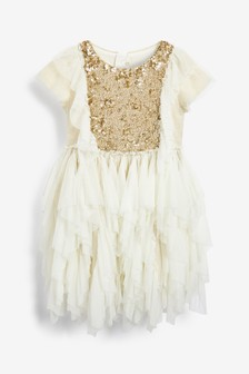 Billie Blush White Sequin Dress