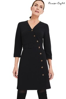 Phase Eight Black Julli Button Dress