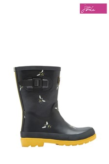 Joules Black Bees Printed Welly