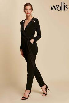 Wallis Black Stud Wrap Jumpsuit