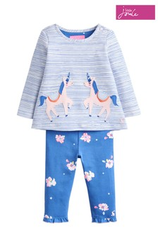 Joules Blue Poppy Unicorn Jersey Top And Legging Set