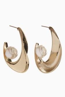 Baroque Pearl Effect Organic Hoop Earrings