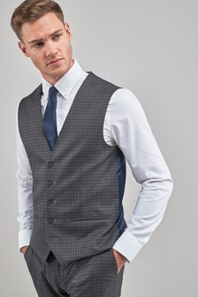 Skinny Fit Mini Check Suit: Waistcoat