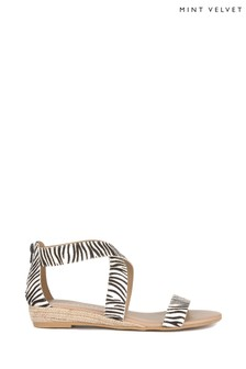 Mint Velvet Animal India Zebra Print Flat Sandal