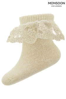 Monsoon Gold Baby Sparkle Scallop Lace Socks