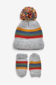 Multi                     Stripe Hat And Mittens Two Piece Set (Younger)