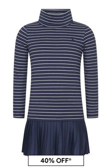 Girls Navy Striped Cotton Turtleneck Dress