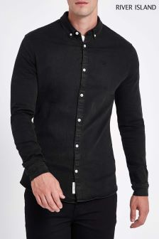 River Island Black Muscle Fit Shirt
