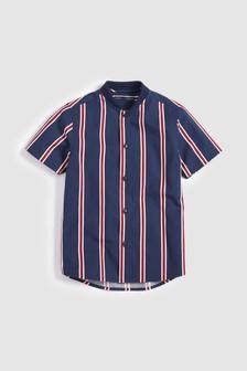 Short Sleeve Stripe Baseball Neck Shirt (3-16yrs)