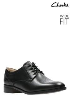 Clarks Wide Fit Black Netley Rose Shoe