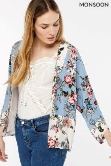 Monsoon Blue Lara Printed Kimono Jacket