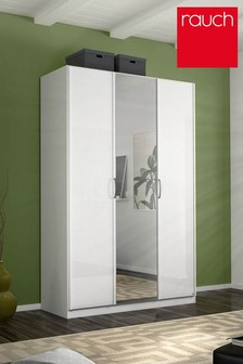 Courtney White Glass Triple Hinged Wardrobe by Rauch