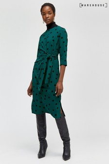 Warehouse Black Spot Tie Front Midi Dress