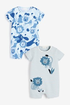 2 Pack Organic Cotton Lion Rompers (0mths-3yrs)
