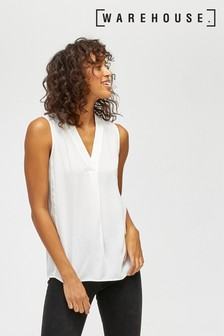 Warehouse White Satin Mix Shell Vest