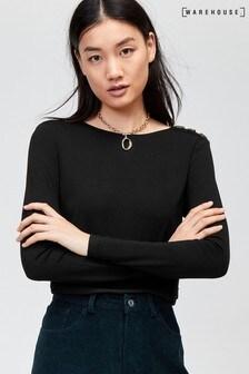 Warehouse Black Woven Mix Button Shoulder Top