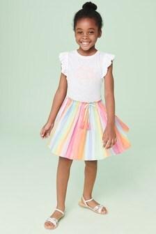 Rainbow Slogan Dress (3-16yrs)