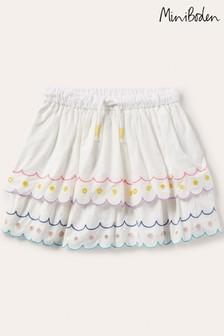 Boden Ivory Rainbow Broderie Skirt