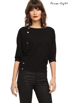 Phase Eight Black Natka Button Batwing Knit