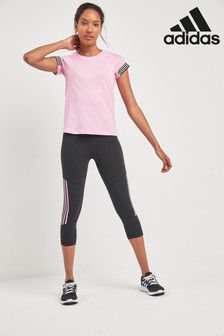 adidas Black/Pink D2M 3 Stripe 3/4 Tight