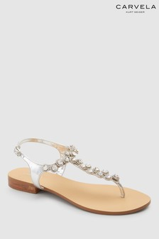 Carvela Silver Leather Bebe 2 Sandal